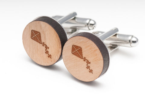 Kite Tail Wood Cufflinks