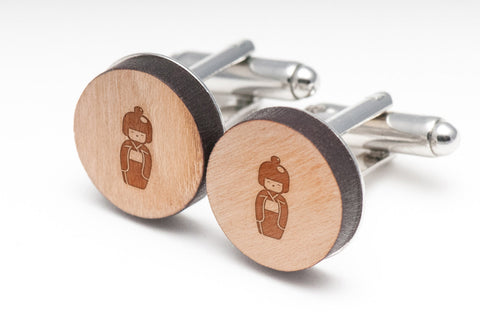 Kokeshi Doll Wood Cufflinks