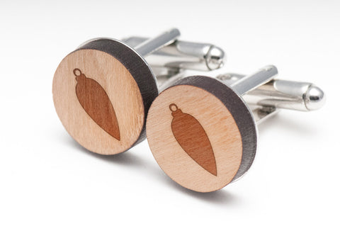 Long Ornament Wood Cufflinks