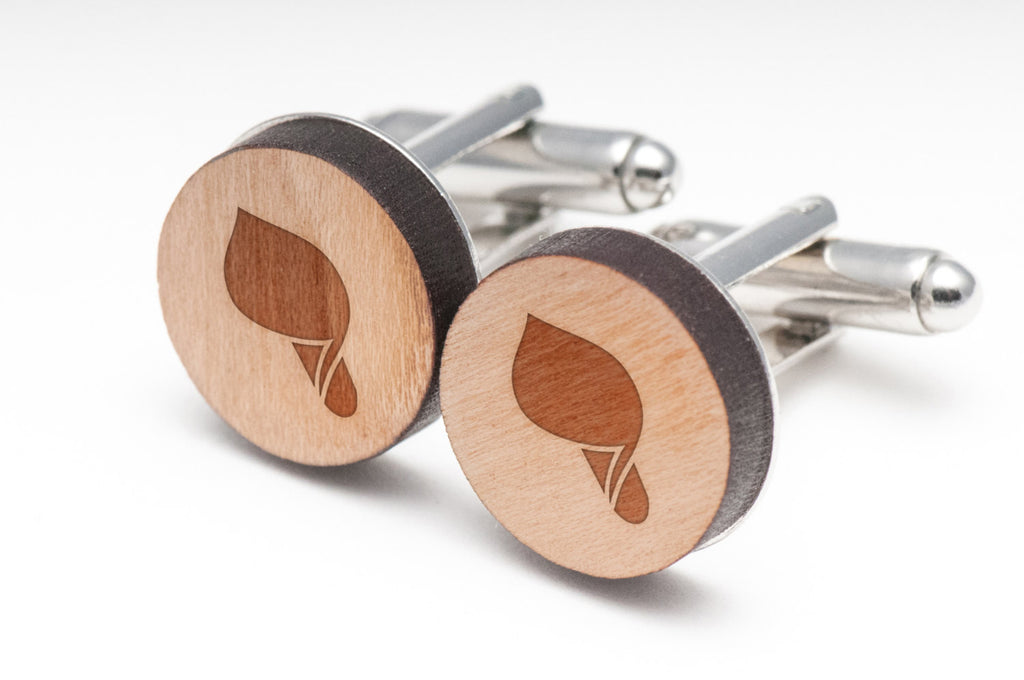 Calla Lily Wood Cufflinks