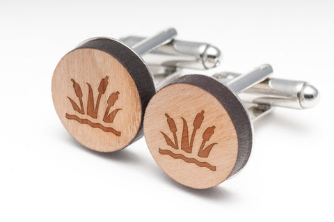 Cattail Wood Cufflinks