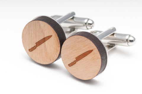 Chefs Knife Wood Cufflinks