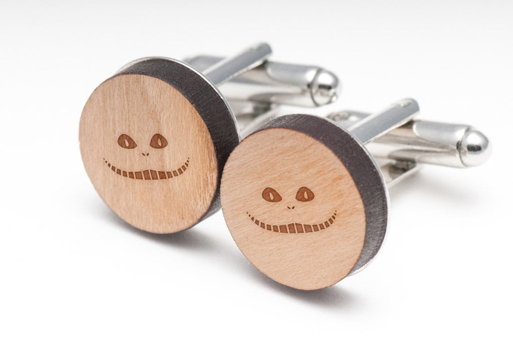 Cheshire Cat Wood Cufflinks