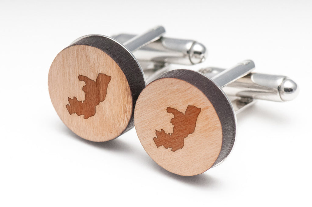 Republic Of Congo Wood Cufflinks
