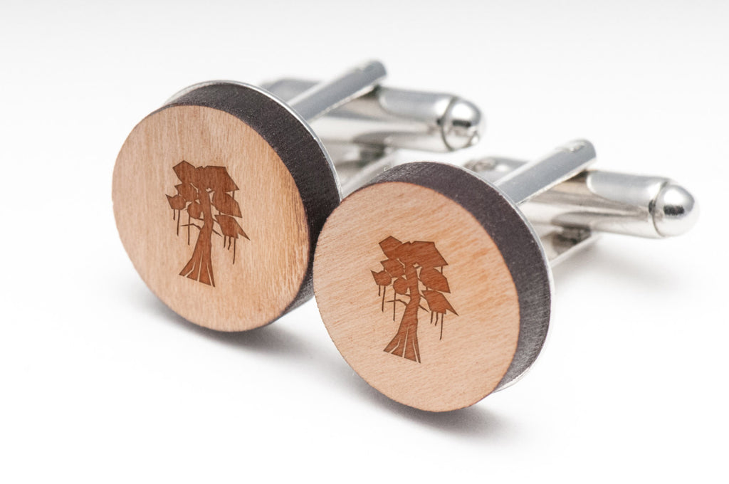 Cypress Tree Wood Cufflinks