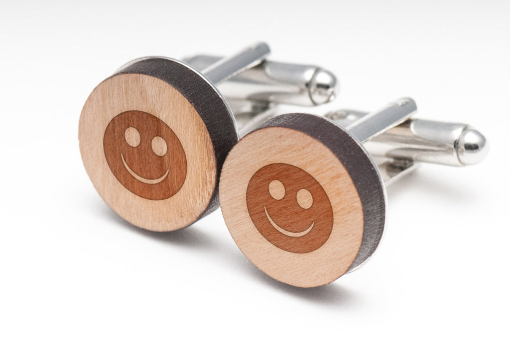 Smiley Face Wood Cufflinks