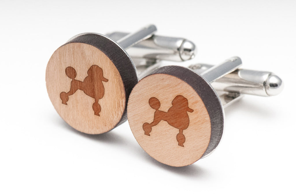 Toy Poodle Wood Cufflinks