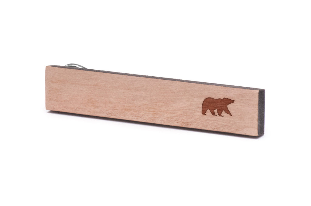 Grizzly Bear Wood Tie Clip
