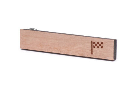 Checkered Flag Wood Tie Clip