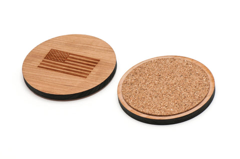 American Flag Wooden Coasters Set of 4