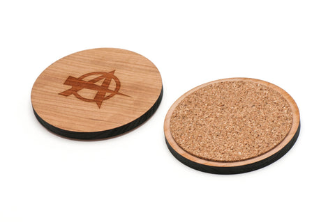 Anarchy Wooden Coasters Set of 4