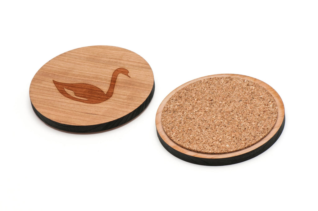 Swan Wooden Coasters Set of 4