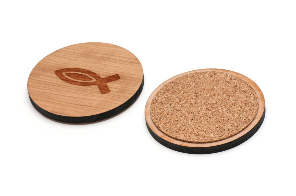 Christian Fish Wooden Coasters Set of 4