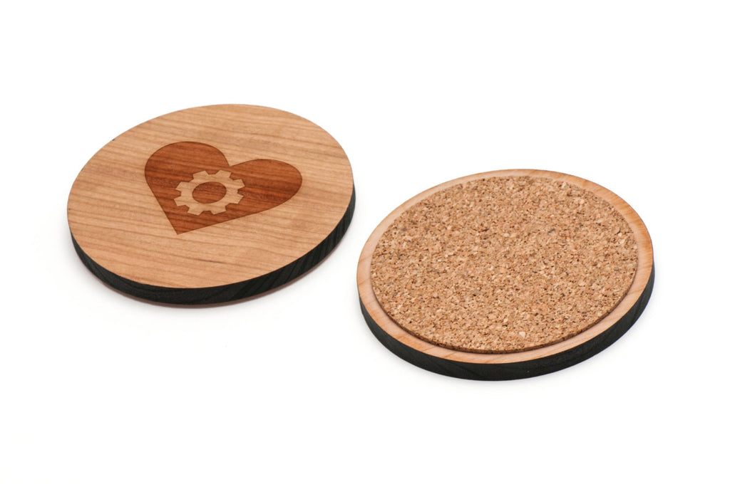 Gear Hearts Wooden Coasters Set of 4