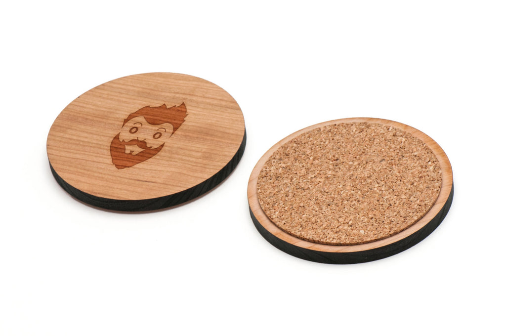 Hipster Wooden Coasters Set of 4