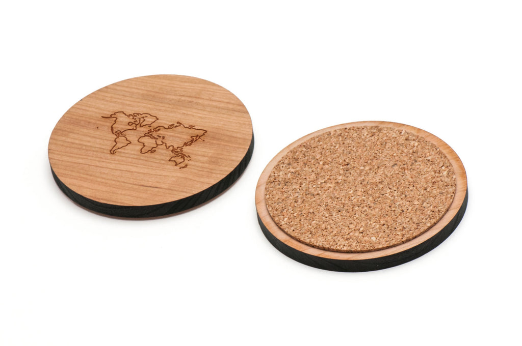 World Map Wooden Coasters Set of 4