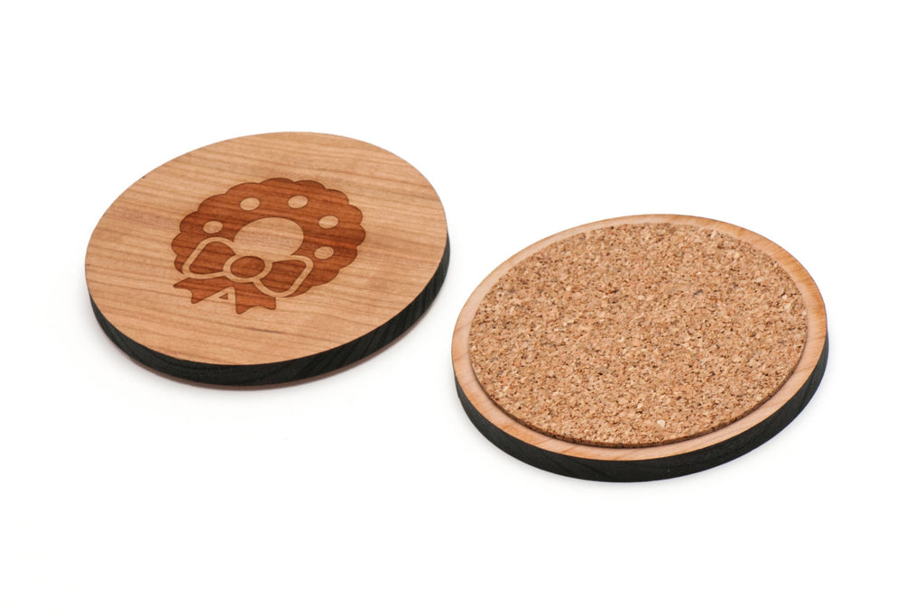 Wreath Wooden Coasters Set of 4
