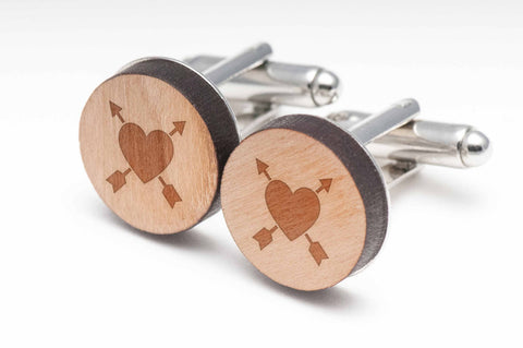 Arrow In Heart Wood Cufflinks
