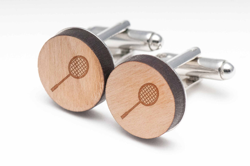 Badminton Racket Wood Cufflinks