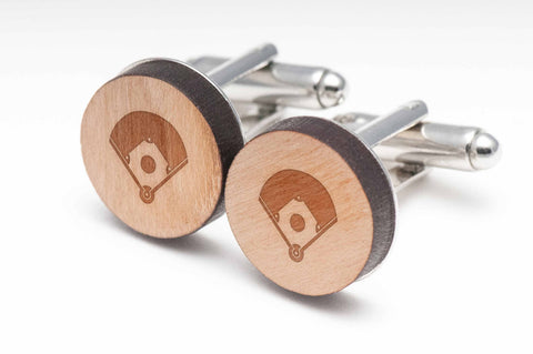 Baseball Diamond Wood Cufflinks