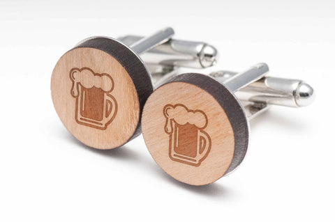 Beer Pint Wood Cufflinks