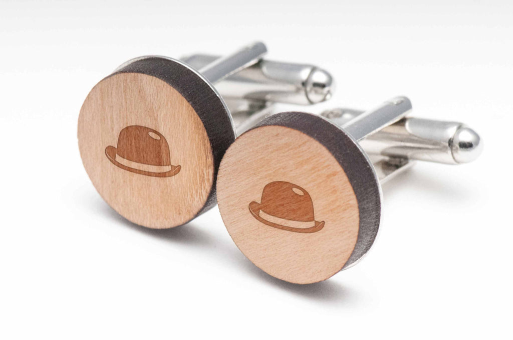 Bowler Hat Wood Cufflinks