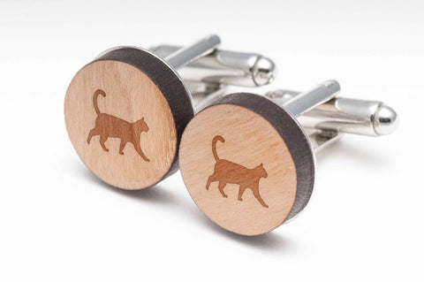 Cat Wood Cufflinks