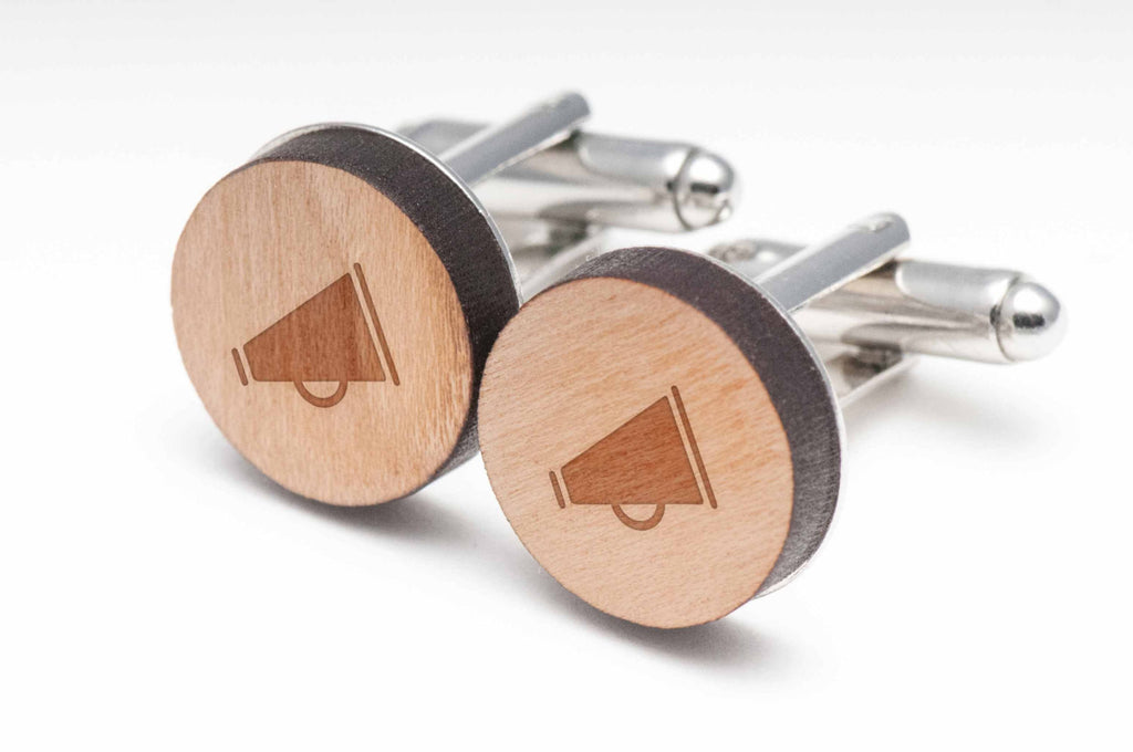 Cheerleader Megaphone Wood Cufflinks