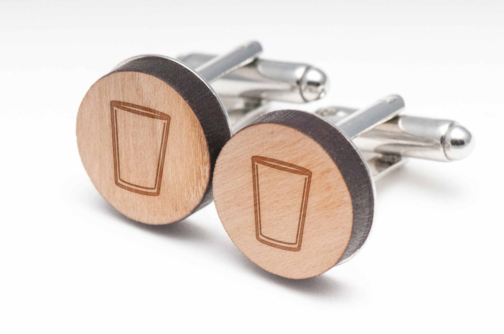 Cocktail Empty Wood Cufflinks