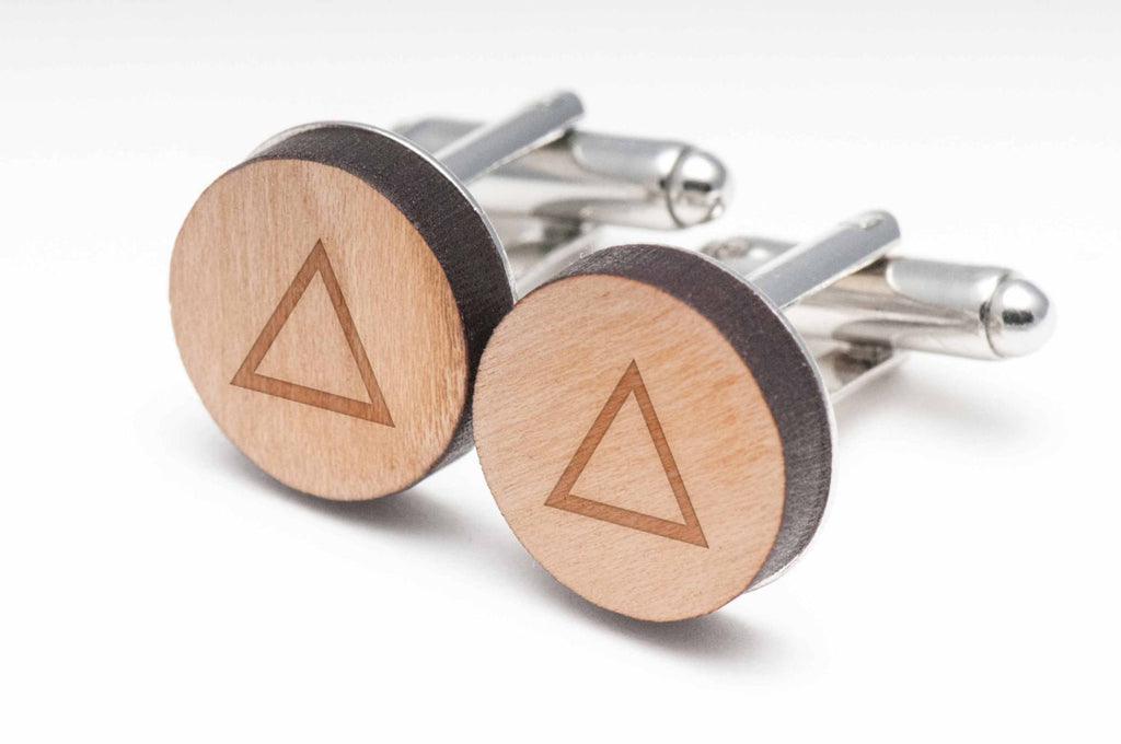 Equilateral Triangle Wood Cufflinks
