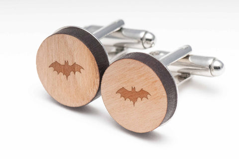 Flying Bat Wood Cufflinks