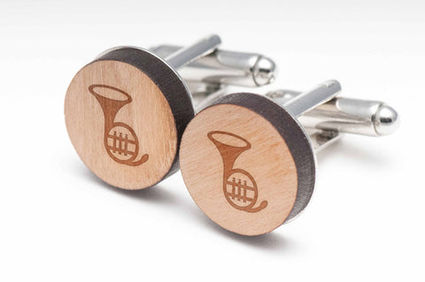 French Horn Wood Cufflinks