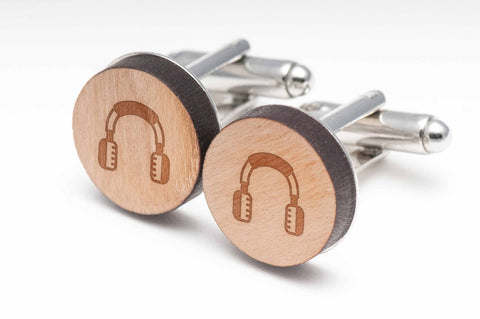 Headphones Wood Cufflinks