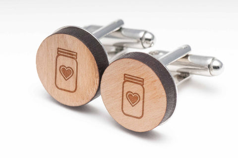 Mason Jar Heart Wood Cufflinks