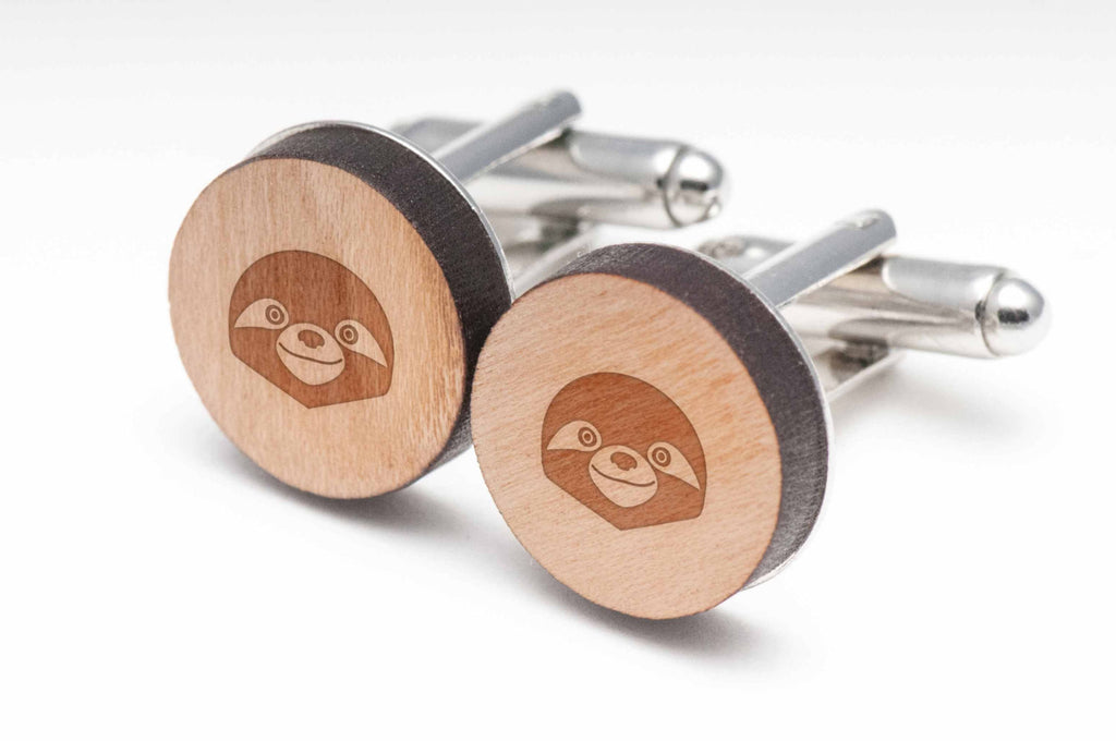 Sloth Face Wood Cufflinks