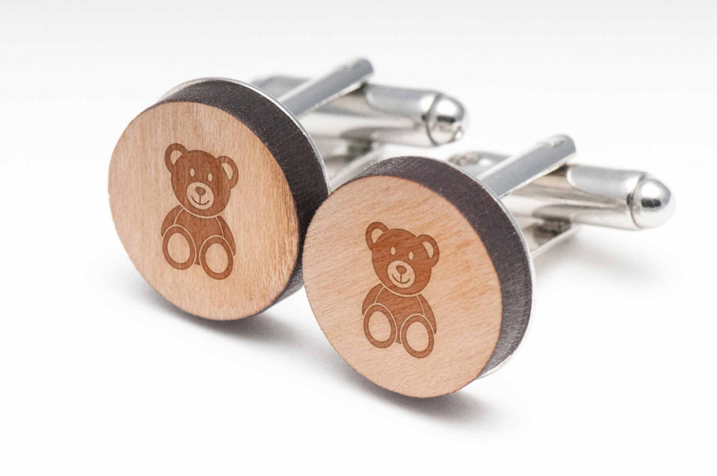 Teddybear Wood Cufflinks