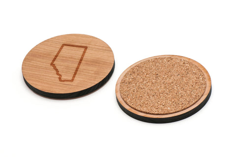 Alberta Wooden Coasters Set of 4