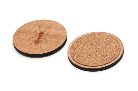 Ant Wooden Coasters Set of 4