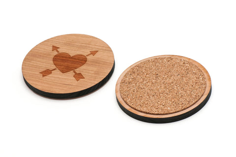 Arrow In Heart Wooden Coasters Set of 4