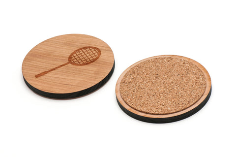 Badminton Racket Wooden Coasters Set of 4