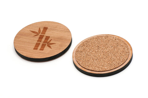 Bamboo Silhouette Wooden Coasters Set of 4
