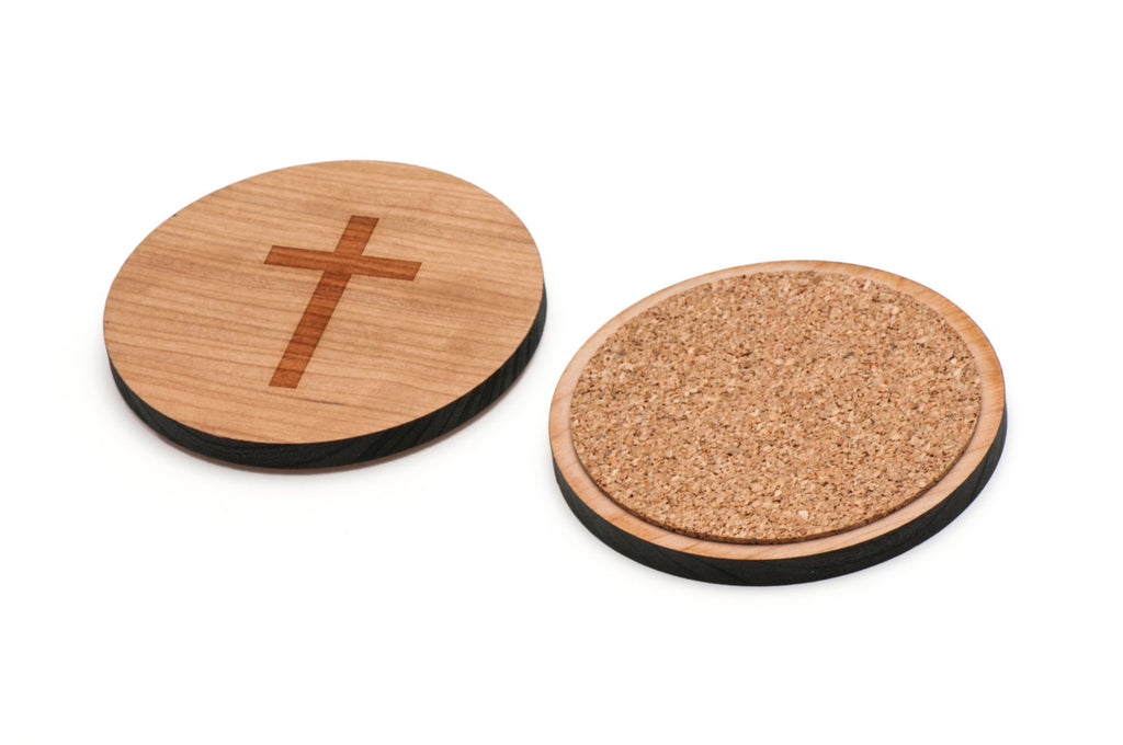Christian Cross Wooden Coasters Set of 4