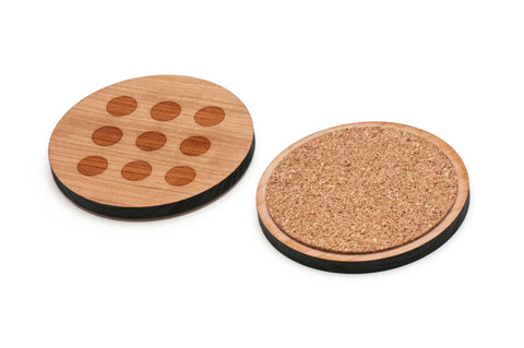 Circle Grid Wooden Coasters Set of 4