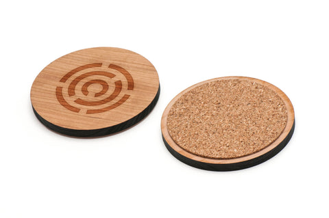 Circle Maze Wooden Coasters Set of 4