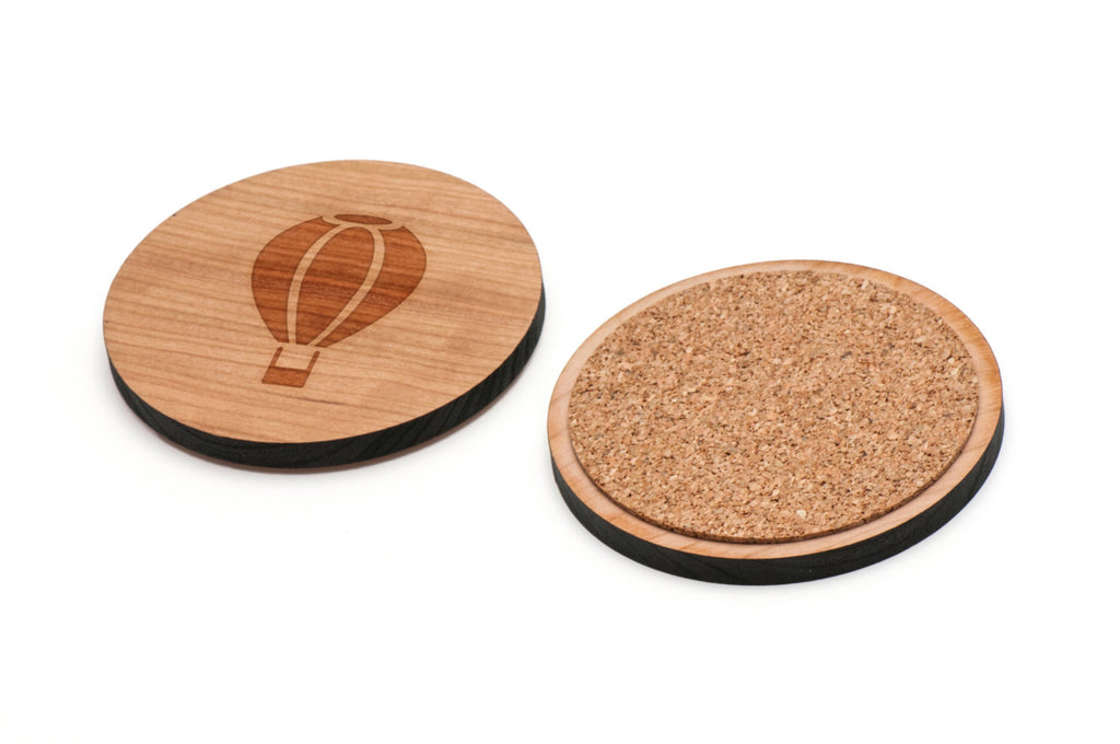 Hot Air Balloon Wooden Coasters Set of 4