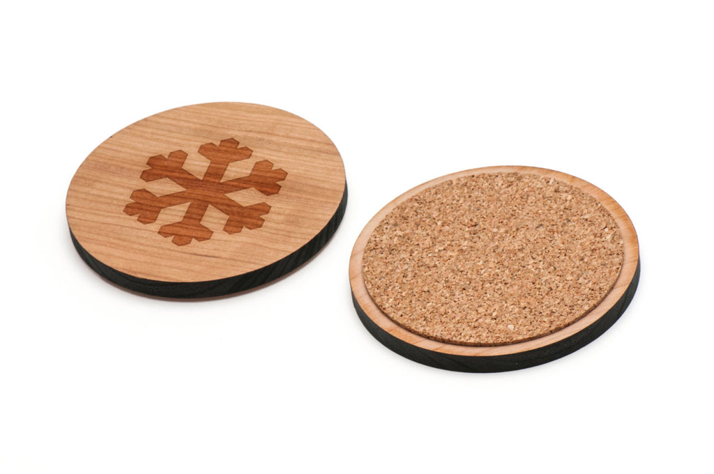Snowflake Wooden Coasters Set of 4