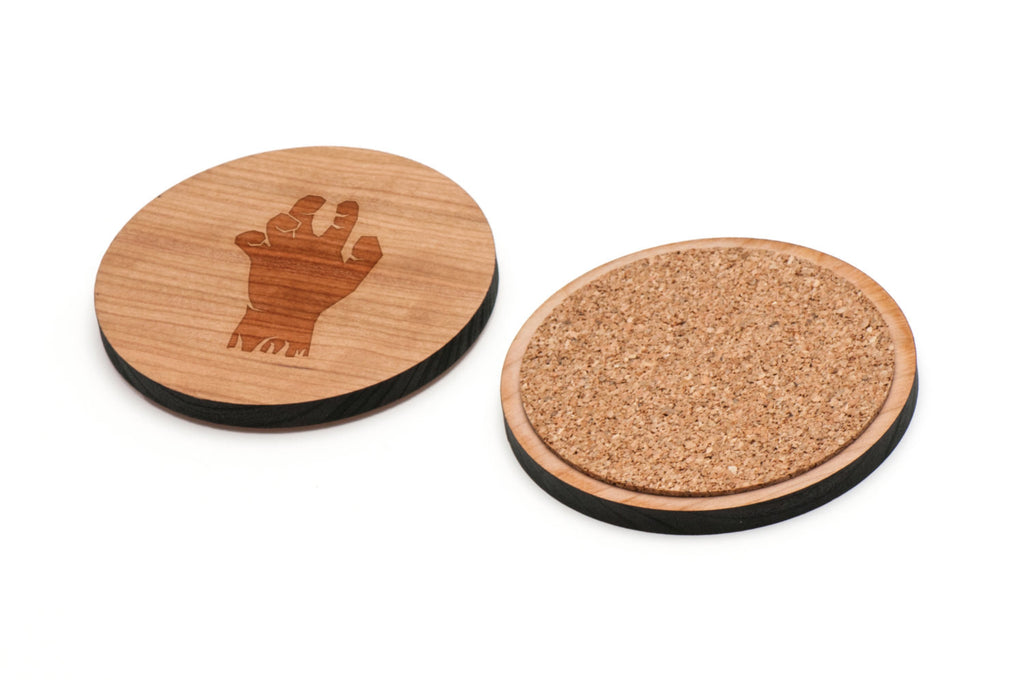 Zombie Hand Wooden Coasters Set of 4