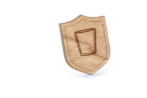 Cocktail Empty Wood Lapel Pin
