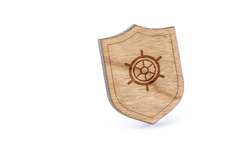 Boat Wheel Wood Lapel Pin