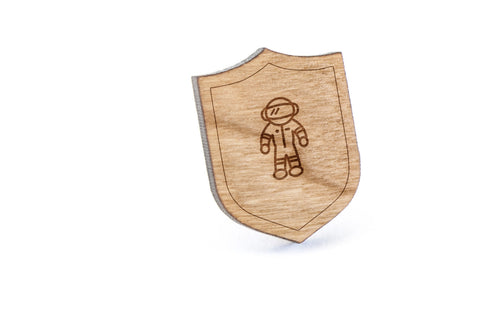 Cosmonaut Wood Lapel Pin
